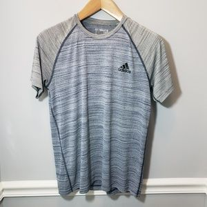 Men's Adidas Blue & Gray Short Sleeve Top